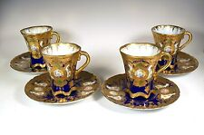 NIPPON OLD NORITAKE COBALT HEAVY GOLD ROSE & MUMS MEDALLION CUPS & SAUCER MAPLE