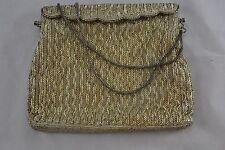 VINTAGE large SILVER BEADED 1950s EVENING BAG/handbag wedding HARRODS label