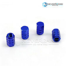 4X Wheel Tyre Tire Valve Stems Air Dust Cover Screw Caps Car Truck Bike Blue