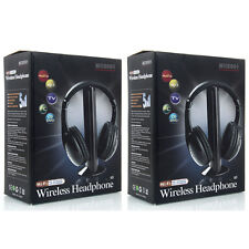 2X New 5 in 1 Wireless Headphone Earphone for MP3/MP4 PC TV CD FM Radio 96 Black
