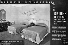 1937 Print Ad of Cassard Romano Co Bride's Own Bed Room Brides House
