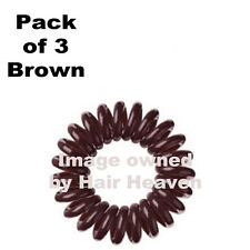 Kodo BROWN Spiral Invisible Snag & Pain Free Bobble Hair Band Pack Of 3