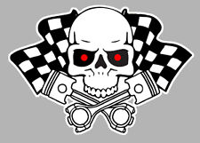 SKULL HEAD FLAGS TETE DE MORT DAMIERS HOT ROD AUTOCOLLANT STICKER 120mm (HA134)