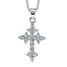 Sterling Silver CZ Orthodox Cross Pendant Necklace with Cubic Zirconias Chain