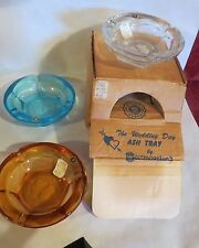 "3  Westmoreland Glass Ash Trays ""THE WEDDING DAY""   org. box"