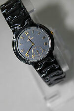 Delma Swiss Made Mens Quartz Watch - Unusual Onyx Gray Bracelet and Face - Nice!