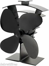 Valiant Premium 4 Blade Heat Powered Stove Fan New Design in Black - FIR361