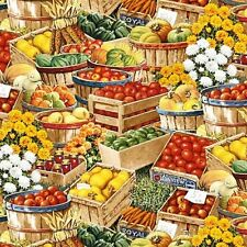 Bringing in the Harvest Baskets of Vegetable for Sale Cotton Fabric Fat Quarter
