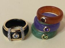 14K Gold Interchangeable diamond Green Lavender Onyx Red Jade Band Ring Set 5.5