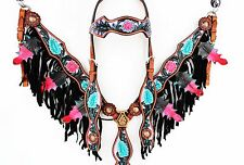 PURPLE FLORAL FRINGE WESTERN LEATHER HORSE BRIDLE HEADSTALL BREASTCOLLAR TACK