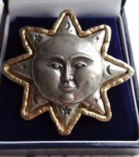 GRANDE Vintage JJ firmato Spilla Peltro, sole, luna, stelle, Uomo sulla Luna
