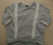 H&M grey jumper sweater lace detail 3/4 sleeve size S