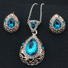 New Vintage 2-piece Set of Sapphire and Diamond Necklace and Stud Earring F7