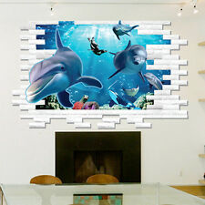 3D Ocean Dolphins Removable Wall Stickers Art Vinyl Decals Sofa Room Mural Decor