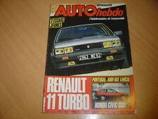 Auto hebdo N°411 Honda Civic CRX.Renault 11 Turbo.