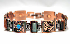 LADIES 8 IN. MAGNETIC LINK BRACELET: Copper Flowers & Semi-Precious Stones