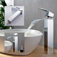 Tall New Waterfall Bathroom Basin Sink Chrome Brass Mixer Tap Faucet