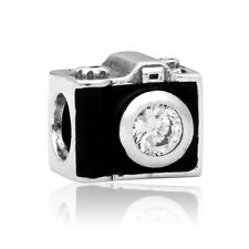 Black camera European Charms Bead Fit Silver Pendant Bracelet&Necklace Chain
