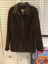 EDDIE BAUER womens Juniors Medium Tall MT brown leather suede jacket lined