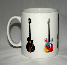 Jimmy Page Guitar Mug. 5 Famous Guitars. Gibson, Danelectro & Fender