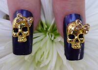 *BLING* Halloween 3D Alloy Metallic Nail Art Gold *Skull*  With Rhinestone Bows