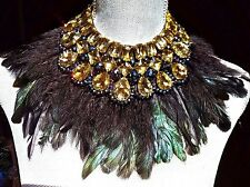 ~GODDESS! Massive STATEMENT Feather Large Yellow Cabochon Bib Choker NECKLACE