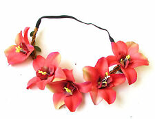 Caribbean Red Orchid Flower Garland Headband Hair Crown Boho Hawaiian Beach 1726