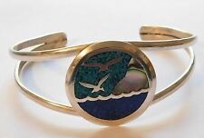 Southwestern MEXICO Silver With Inlaid Turquoise Abalone Sea Birds Cuff Bracelet