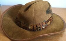 WINFIELD COVER Suede Leather Hat #30 S Vintage Handmade In San Francisco