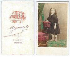 photo cdv enfant petite fille rehaussé à l'aquarelle vers 1870  Béziers