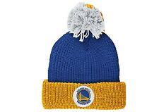 MITCHELL & NESS GOLDEN STATE WARRIORS RETRO PATCH CUFF KNIT POM BEANIE CURRENT