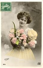 c1907 Pretty Young Smiling FRENCH BEAUTY tinted photo postcard