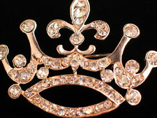 GOLD TONE RHINESTONE PRINCESS CROWN BEAUTY PAGEANT TIARA PIN BROOCH 1 3/4""