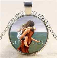 Mother and Daughter Cabochon Glass Tibet Silver Chain Pendant  Necklace#442