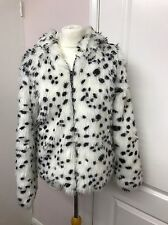 FAB FUN WHITE DALMATION PRINT FAUX FUR JACKET/COAT SIZE UK 12