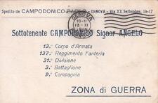 A8047 WW1 FRANCHIGIA PRIVATA PERSONALE CAMPODONICO 137 FANTERIA BRIGATA BARLETTA