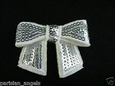 White/Silver Sequin Bow Embellishment for Craft & DIY Hair Clips - Pack of 5