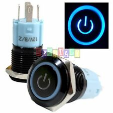 BSFn 16mm Blue On Off LED 12V Latching Push Button Power Switch Waterproof