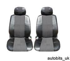 BLACK LEATHER & FABRIC SEAT COVERS FOR LAND RANGE ROVER FREELANDER DEFENDER