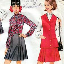 "Vintage 60s Mod SKIRT Jacket BLOUSE Sewing Pattern Bust 34"" Size 10 RETRO Outfit"