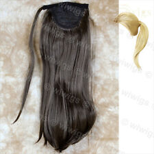 Ladies 1 Piece Clip in Dark Coffee Brown Straight Ponytail Wrap around Pony UK