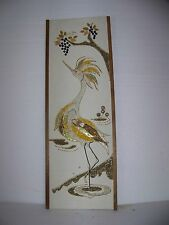 Vtg Gravel Tile Pebble Art Picture Eames Era Mid Century Retro Gold Tone Bird