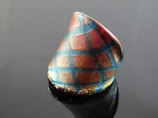 Stunning Murano Glass Silver Foiled Lampwork Handmade Red Finger Ring US 7.25""