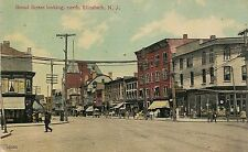 Broad Street Looking North in Elizabeth NJ Postcard 1912
