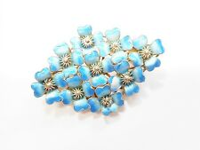 Vintage Genuine Sterling Silver Blue Enamel Flower Brooch Pin #2100
