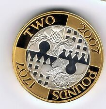 2007 PIEDFORT Silver proof gold plated two pound £2 coin - 24g - Act of Union