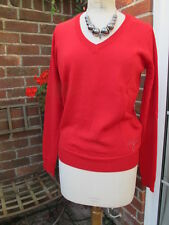new 100% CALVIN KLEIN JEANS RED wool blend JUMPER with diamante LOGO BNWT £145 L