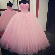 Pink tulle Quinceanera Formal Prom Party Ball Gown Wedding Dress Custom size