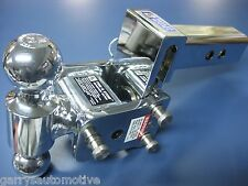 "B&W Chrome Tow & Stow Dual-Ball Hitch Receiver 2"" 2 5/16"" TS10033C Adjustable"