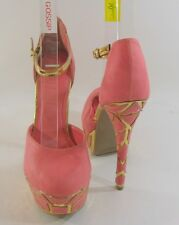 """BLUSH /GOLD 6"""" high HEEL  2"""" PLATFORM round toe ANKLE STRAP sexy shoes  Size 8"""